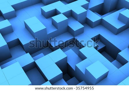 abstract 3d architecture, lots of blue blocks, blue boxes concept, square boxes structure, abstract blocks construction, building made of blocks, cubes build structure - stock photo