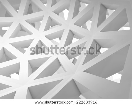 Abstract 3d background with white triangle wire construction - stock photo