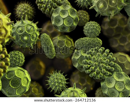 abstract 3d bacteria virus cells illustration, scientific or medical or microbiological background - stock photo