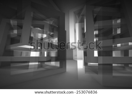 Abstract 3d black modern interior with chaotic cube constructions and glowing end - stock photo