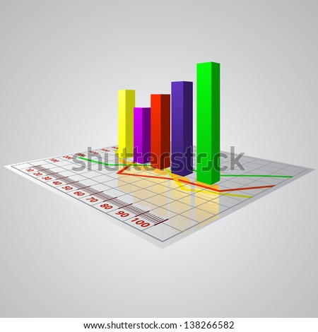 Abstract 3D  business diagram with reflection of money. Raster version - vector version in my portfolio. - stock photo