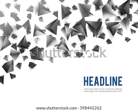 Abstract 3d Chaotic Particles Scifi Pyramids Stock Illustration ...