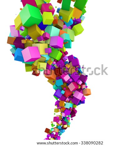 Abstract 3D colorful cubes flow background with white copyspace. - stock photo