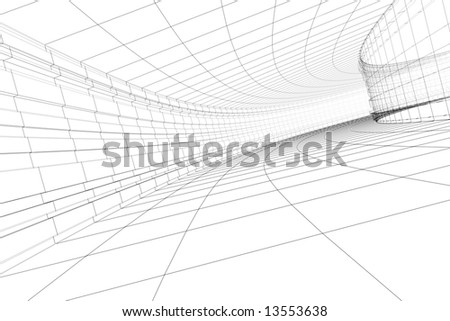 Abstract 3D construction of tunnel. Concept - modern architecture. - stock photo