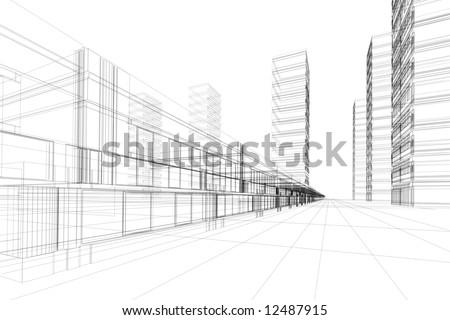 Abstract 3D constructions - stock photo