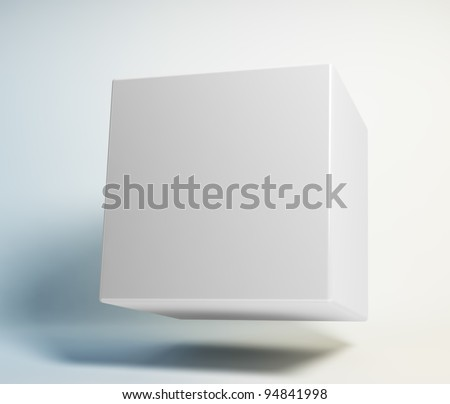 Abstract 3d cube floating in the air - stock photo