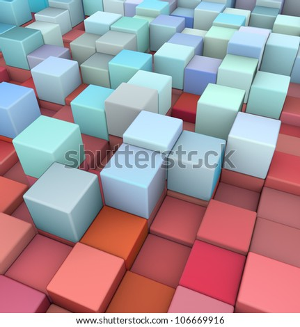 abstract 3d cubes backdrop in red and blue - stock photo