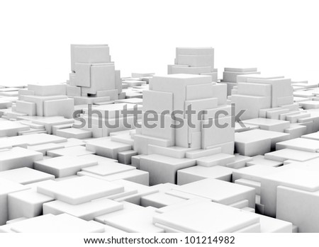 Abstract 3d cubes construction - stock photo