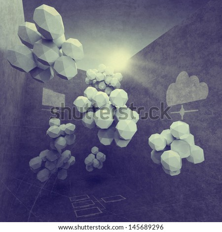 abstract 3d design for cloud networking computer as vintage style concept - stock photo