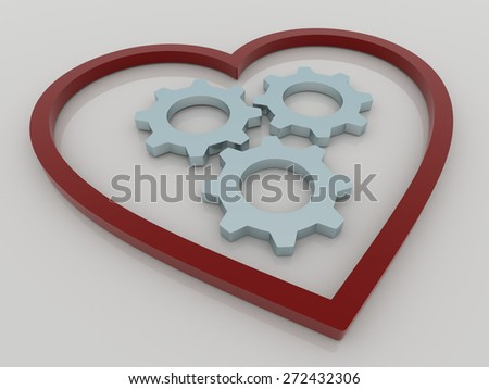 Abstract 3D design of heart with three gears or cogwheels. Rendered against a white background, with shadows and reflections. - stock photo