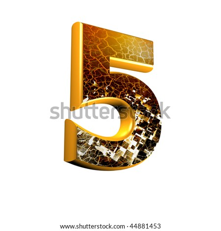 Abstract 3d digit with grunge texture - 5