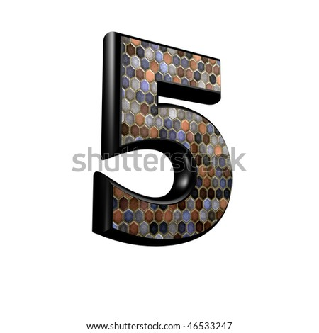 abstract 3d digit with mosaic floor texture - 5