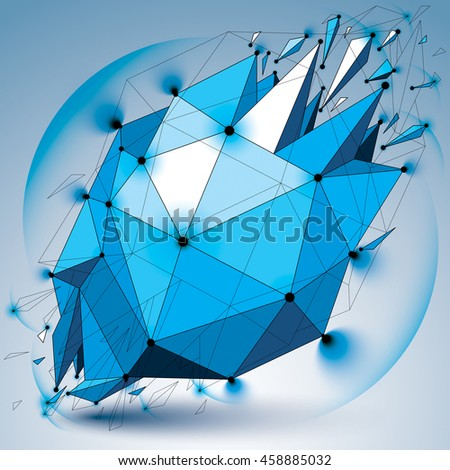Abstract 3d faceted radiance blue figure with connected black lines and dots. low poly shattered design element with fragments and particles. Explosion effect, lens circles.
