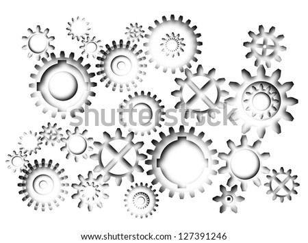 Abstract 3d gears industrial or technology background - stock photo