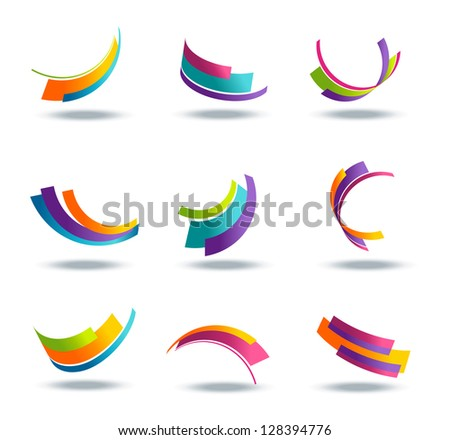Abstract 3d icon set with colorful ribbon elements - stock photo