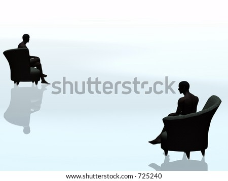 Abstract D 3 illustration depicting loneliness, being alone. Afro american man sitting in chair, staring into infinity. - stock photo