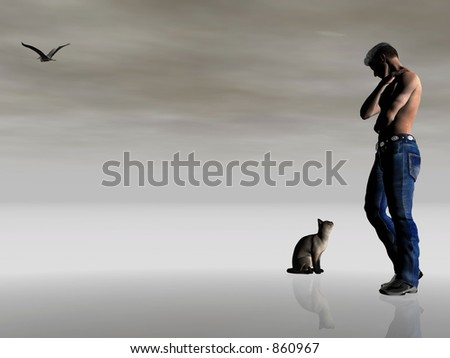 Abstract  3D illustration depicting loneliness, being alone. Muscular man looking at his only friend, the domestic cat.  Surreal dark dramatic background, very moody.  Copy space provided. - stock photo