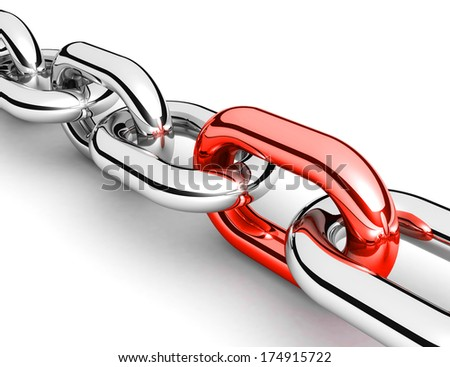 Abstract 3D illustration of a single chain link isolated on white background - stock photo