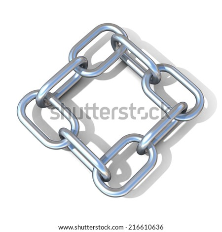 Abstract 3D illustration of a steel chain link isolated on white background. Top view - stock photo