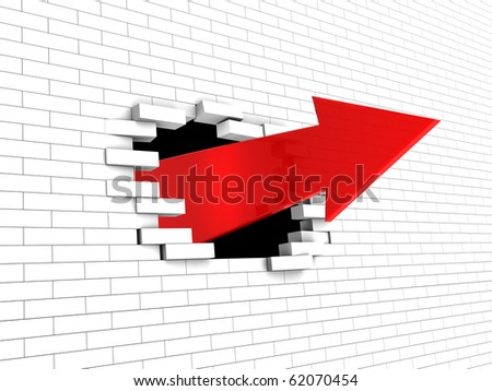 abstract 3d illustration of arrow breaking white brick wall - stock photo