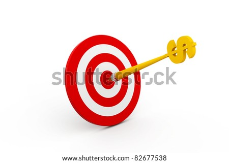 Abstract 3d illustration of arrow in target. - stock photo