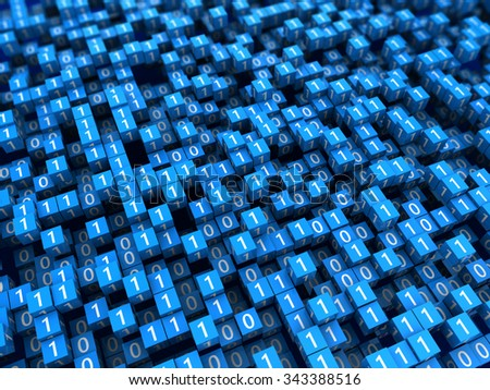 abstract 3d illustration of binary cubes background