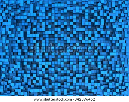 abstract 3d illustration of blue cubes background - stock photo