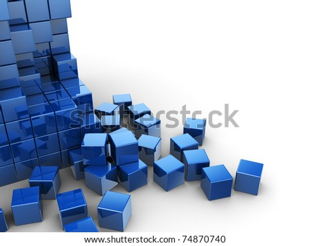 abstract 3d illustration of blue cubes construction over white background - stock photo