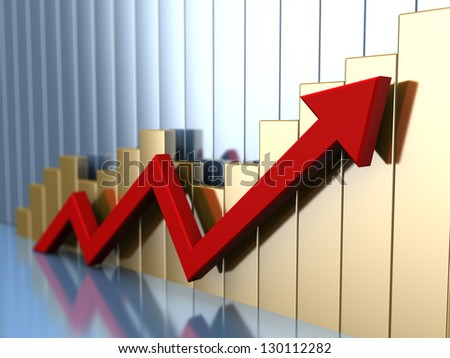 abstract 3d illustration of business chart with red arrow - stock photo