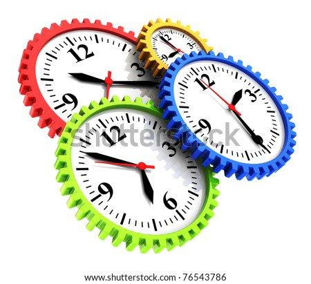 abstract 3d illustration of colorful clock gear wheels - stock photo
