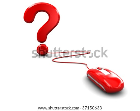abstract 3d illustration of computer mouse and question mark over white background