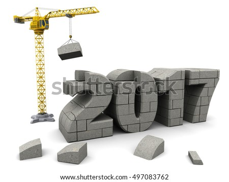 abstract 3d illustration of crane building new year 2017