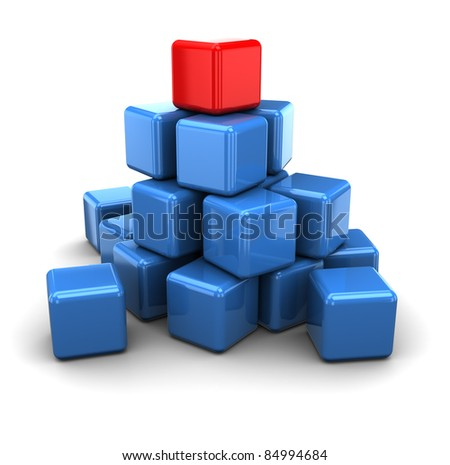abstract 3d illustration of cubes with red leader - stock photo