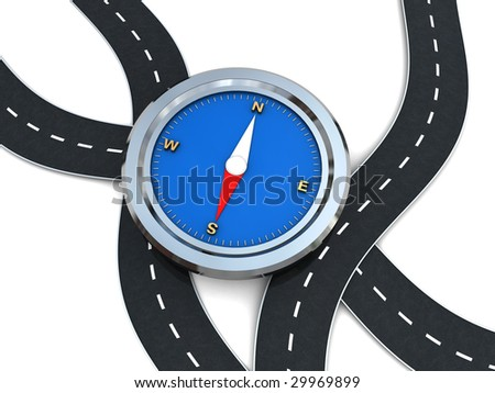 abstract 3d illustration of curvy roads and compass