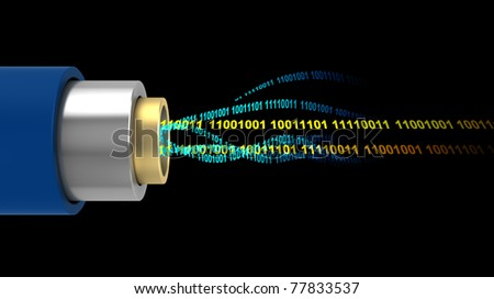 abstract 3d illustration of digital data inside cable - stock photo