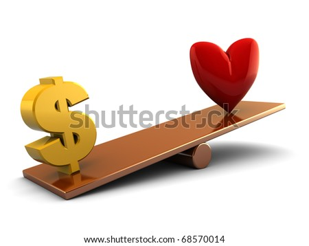 abstract 3d illustration of dollar sign and heart shape on scale board - stock photo