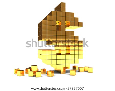 abstract 3d illustration of dollar sign construction built from blocks - stock photo