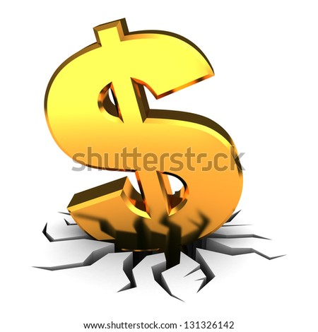 abstract 3d illustration of dollar sign in hole - stock photo