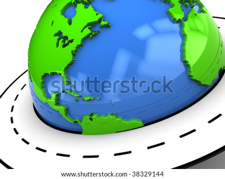 abstract 3d illustration of earth globe closeup with road around it - stock photo