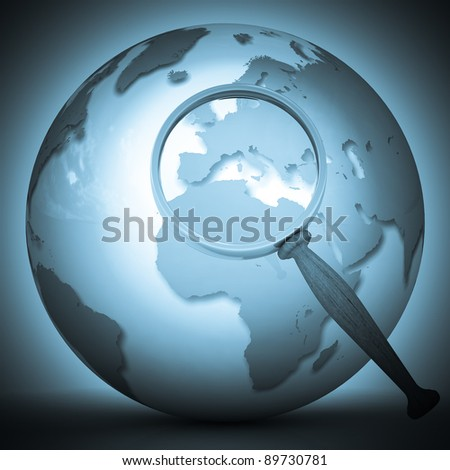 abstract 3d illustration of earth globe (Europe) with magnify glass