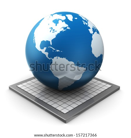 abstract 3d illustration of earth globe over white background - stock photo