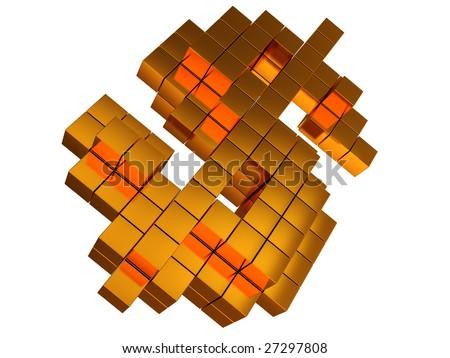 abstract 3d illustration of golden dollar sign built from blocks - stock photo