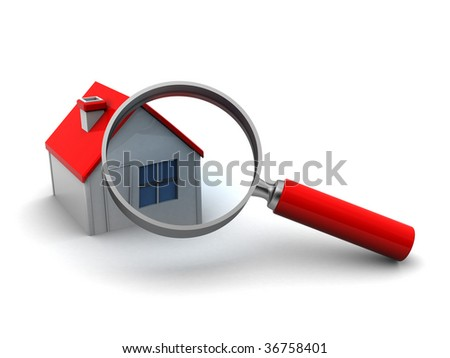 abstract 3d illustration of house and magnify glass - stock photo