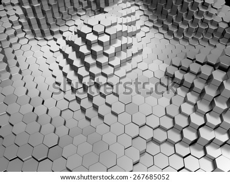 abstract 3d illustration of metal hexagons background - stock photo