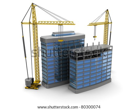 abstract 3d illustration of modern building construction - stock photo