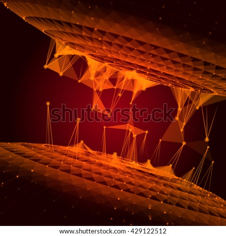 Abstract 3D illustration of molecular structure on the dark background. Connected colorfully lines with dots. Concept of the science, connection, chemistry, biology, medicine, technology. - stock photo