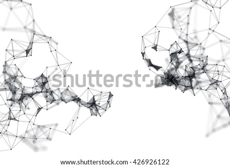 Abstract 3d illustration of Molecular structure on white background. Connected colorfully lines with dots. Concept of the science, connection, chemistry, biology, medicine, technology. - stock photo