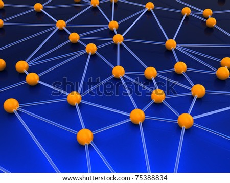abstract 3d illustration of network structure concept - stock photo