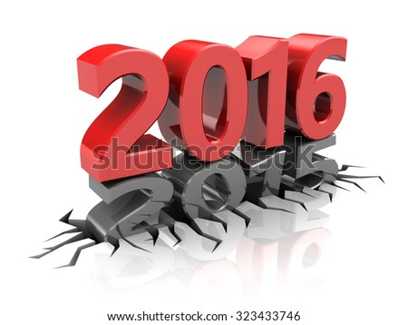 abstract 3d illustration of new 2016 year  - stock photo