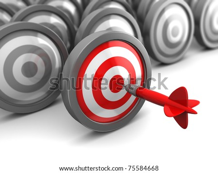 abstract 3d illustration of one selected target hit with dart - stock photo